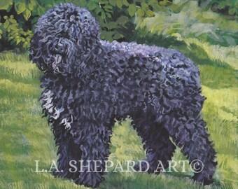 "BARBET DOG art canvas PRINT of LAShepard painting 8x10"""