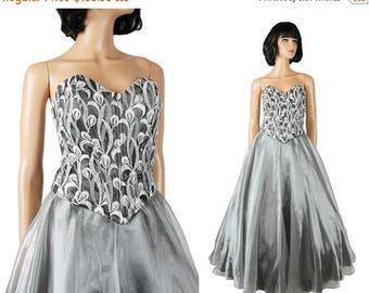 ON SALE Vintage Prom Dress XS 80s 90s Silver Chiffon Lace Long Strapless Ball Gown Shiny Free Us Shipping