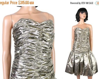 ON SALE 80s Designer Prom Gown Sz S Victor Costa Strapless Sparkly Gold Cocktail Dress Free Us Shipping
