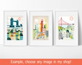 City Skyline Prints Wall Art of Cities, Christmas Gifts Presents Ideas, ANY 3 images in my shop (5x7, 8x10, 8x11.5), New York, London, Paris