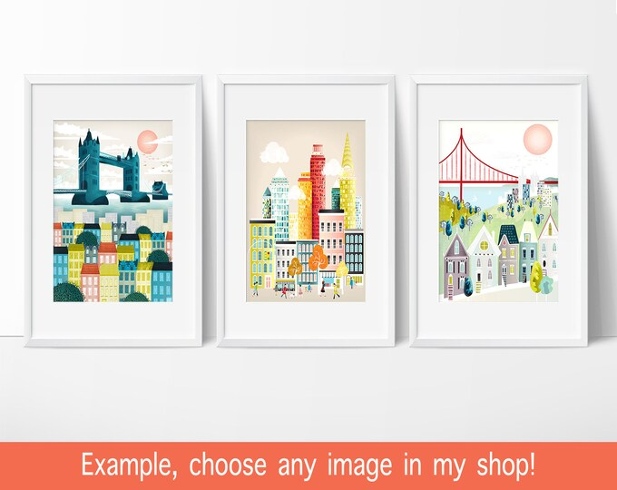 Featured listing image: City Skyline Prints Wall Art of Cities, Christmas Gifts Presents Ideas, ANY 3 images in my shop (5x7, 8x10, 8x11.5), New York, London, Paris