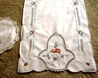 Table Runner Vintage Embroidered Open Cut Work Lace Fall Colors Set 2