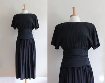 Vintage Short Sleeve Black Silk Midi Dress