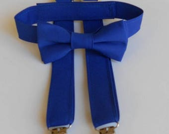 Royal Blue Bowtie and Suspenders Set-Infant, Toddler, Boy - 2 weeks before shipment