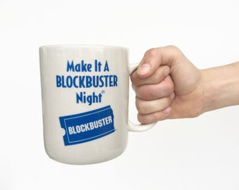 Make it a Blockbuster Night Vintage Blockbuster Video Coffee Mug Ceramic Collectibles Pop Culture