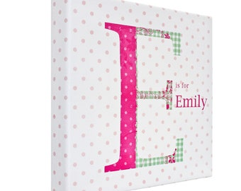 Personalised Childrens Pretty shabby chic monogram girls bedroom canvas wall art picture kids name **ANY NAME**