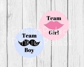 Gender Reveal Stickers Team Boy Team Girl Team with Mustache and Lips Gender Party set of 24 - SES394