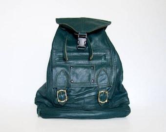 80s Leather Backpack Teal Drawstring Bag Vintage Distressed Back to School Bag Leather Bag
