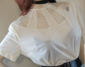1940s 1950s Vintage Sheer Pale Yellow Nylon Blouse with Cobwell Sheer Neckline Size M Laros