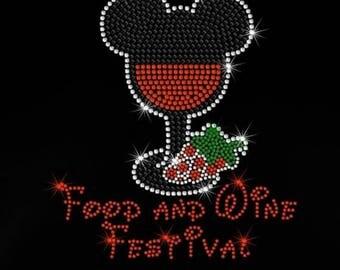 "SALE 7.7"" Mickey Epcot Food & Wine Festival iron on rhinestone transfer bling patch"