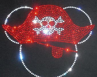 """SALE 7.5"""" Pirate Mickey Mouse Minnie skull crossbones clear rhinestone iron on TRANSFER for t shirt"""