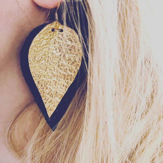 Black & Gold Foiled Leather Earrings