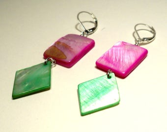 Summertime Mother of Pearl Silver Drop Earrings in Pink and Green