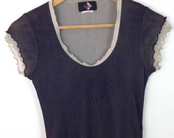Vintage 90s Sheer Mesh Net Layer Two Tone Shirt Tshirt Top Goth Grunge Clubkid Raver Y2k Clueless