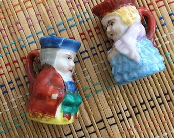 Vintage Miniature Toby Jug Pair:  His and Hers, Twee Twosome!  R