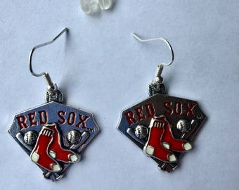 "Boston Red  Sox earrings, 1 "" drop, Christmas gift, holiday gift, stocking stuffer"