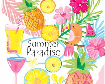 ON SALE Tropical Summer Paradise clip art,- pineapple clip art, Pink blue, Hibiscus Digital clipart, instant download