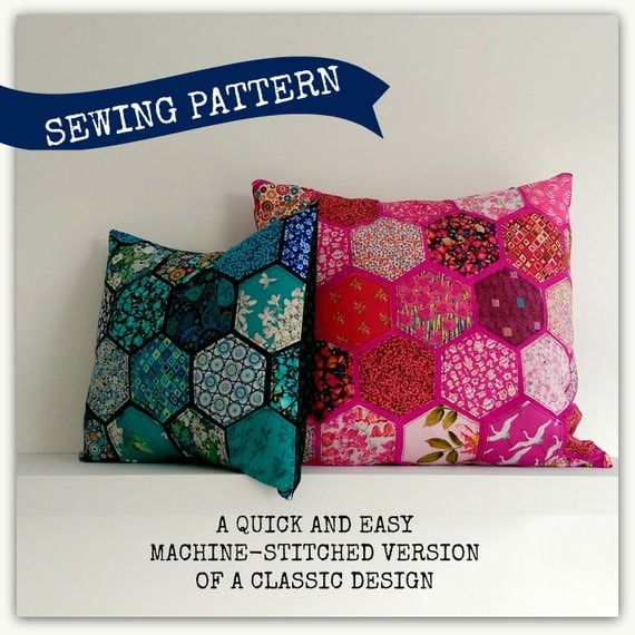 Hexagon Cushion Cover Sewing Pattern. Quick and easy method no hand stitching required. Add instant colour to your room. & Hexagon Cushion Cover Sewing Pattern. Quick and easy method pillowsntoast.com
