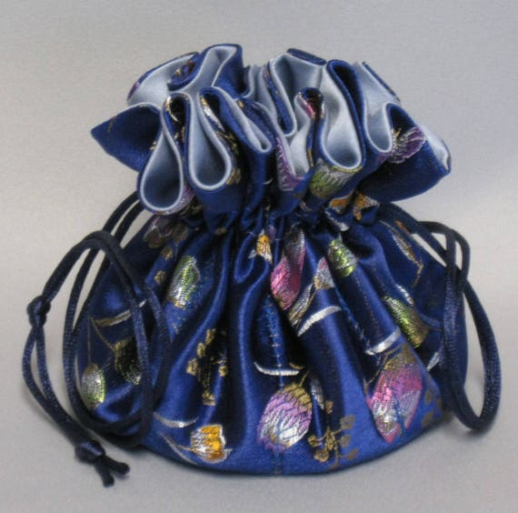 Jewelry Drawstring Travel Tote---Organizer Pouch---Royal Blue Floral Satin Brocade---Medium Size
