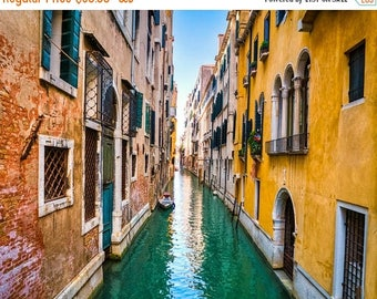 SUMMER SALE-Ends July 5- Venice Photography Canal Photograph Italy Photo Yellow Pink Red Balcony Italian Colors  ven42