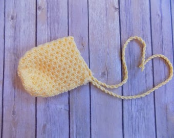Yellow Newborn Bonnet, Knit Baby Bonnet, Photography Prop