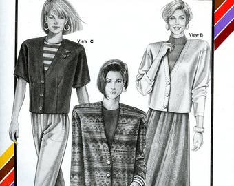 Vintage Stretch & Sew 1093 Women's Faced Button Front Cardigans with Deep V Neck UNCUT Sewing Pattern Bust 30 32 34 36 38 40 42 44 46