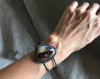 Boulder Opal cuff bracelet // gemstone cuff bracelet / boulder opal / opal / sterling silver / dancing leaf design / made in Vancouver