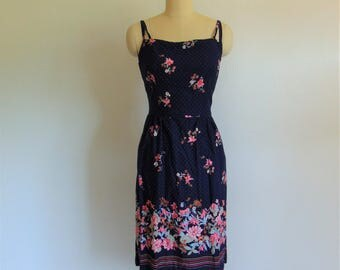 70s cotton navy floral SUNDRESS size medium