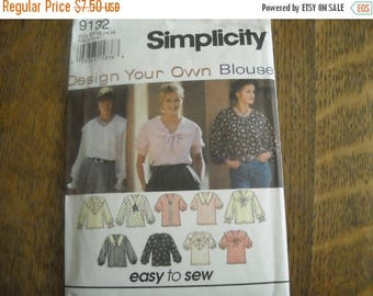 Simplicity 9132 Design Your Own Blouse Pattern Size 12, 14, 16