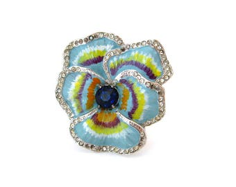 Vintage 1940s CORO Pansy Enamel Flower Fur Clip, Signed Rhinestone Floral Brooch, 40s Costume Jewelry