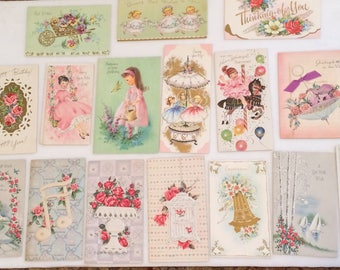 Lot of 16 All Occasion Greeting Cards 40s 50s Girls