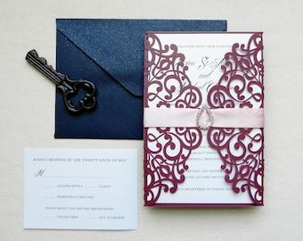 Burgundy Marsala and Navy Blue with Crystal Laser Cut Wedding Invitation Suite - Laser Cut Gate Fold, Insert Card, RSVP Card, and Envelopes