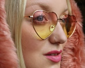 70's style pink yellow ombre fade heart shaped sunglasses with gold frames