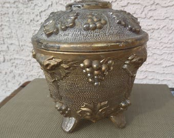 Goofus Glass Powder Jar Gold Lid Grapes Flowers Trinket Coins 50s 40s