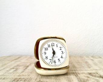 Vintage Westclox Germany Fold-Away Travel Alarm Clock in White