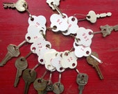 Vintage key tags Numbered key tags White paper key tags Red numbers on tags Paper number tags 12 tags #9