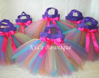 15 Rainbow Fairy Party Favor Tutu Bags - Birthday Party Treat Bags