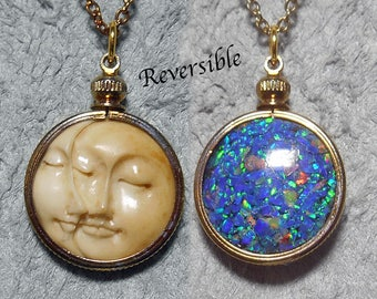 Reversible 2017 solar eclipse commemorative pendant, sun-moon conjunction- lab created  black opal mosaic, heat colored channel setting