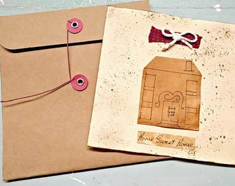 Large Handmade card, primitive handmade card, collage card, home sweet home, rustic shabby, country cottage recycled, button string envelope
