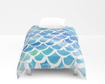 Mermaid Duvet cover - Blue Watercolor Duvet cover - Mermaid bedding - Twin XL duvet - queen duvet cover - king duvet cover - Twin full duvet