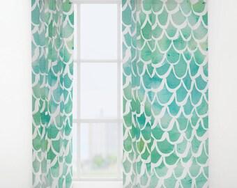 Mermaid curtains - Aqua Curtains - Watercolor curtains - Window Curtains - Window Treatments - Curtain Panel - Drapes - Mermaid Drapes