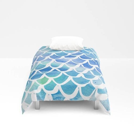 Mermaid Duvet cover - Blue Watercolor Duvet cover - Mermaid bedding - Twin XL duvet - queen duvet cover - king duvet cover - Twin full duvet
