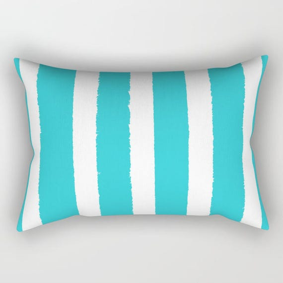 Aquamarine and White Stripe Lumbar Pillow - Toddler Pillow - Cyan Pillow - Bed Pillow - Rectangle Throw Pillow Striped Pillow  Travel Pillow