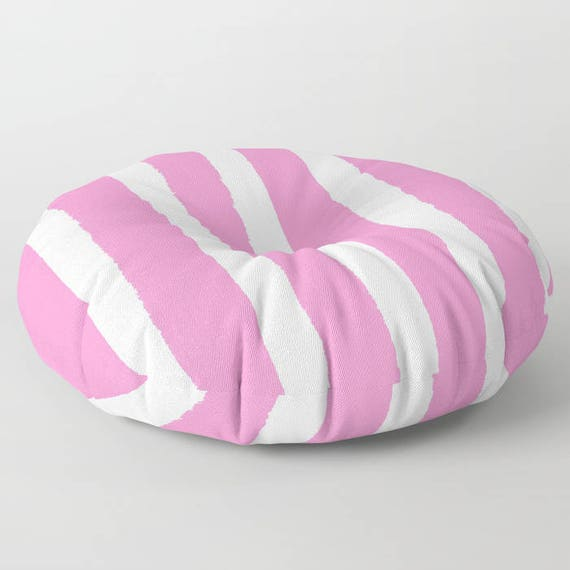 Bubblegum Pink White Striped floor cushion - Round cushion - Pillow - Round pillow - Pink Striped Floor pillow - 26 inch pillow - 30 inch