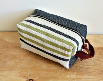 Striped Canvas dopp kit/ medium mens toiletry bag/ canvas pouch/ travel kit/ leather trim - ready