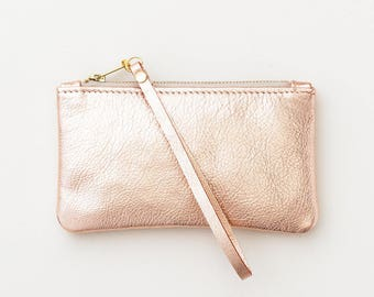 Rose Gold Leather Clutch, Metallic Leather Wristlet, Evening Clutch, Wedding Clutch, Bridal Clutch, Bridesmaid Gift, Wedding Party Gift