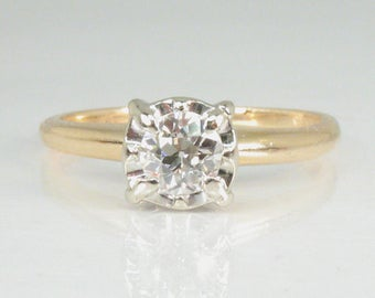 Old European Cut Diamond Engagement Ring – 0.33 Carats – Appraisal Included