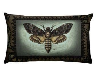 Death Head Moth / Skull Moth / Death's-head Hawkmoth /  Acherontia / Silence of the Lambs / Death's Head Hawkmoth / Rectangular Pillow