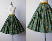 50s Skirt - Vintage 1950s Skirt - Novelty Print Green Mustard Aqua Chairs Cotton Full Skirt XS to S - Ladderback Skirt