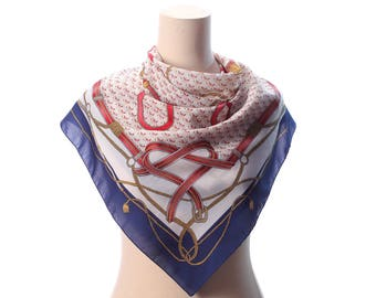 EQUESTRIAN Print Scarf Vintage 80s Novelty Ropes Print Preppy Neck Wear Red White Blue Beige 1980s Bandana Riding Accessories Printed